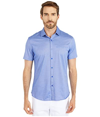Vince Camuto Short Sleeve Sport Shirt with Hacking Pocket (Blue Solid) Men
