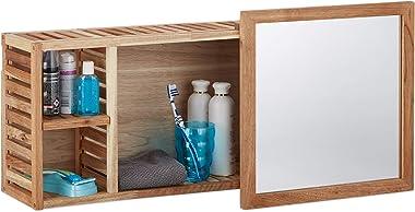 Relaxdays Etagère murale avec miroir coulissant salle de bain armoire bois de noyer huilé side board 80 cm de largeur, nature