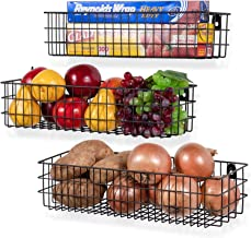 SHIOK DECOR® Wall Mounted Metal Wire Baskets for Kitchen Organization and Storage, Hanging Storage Basket for Fruit, Cloth...