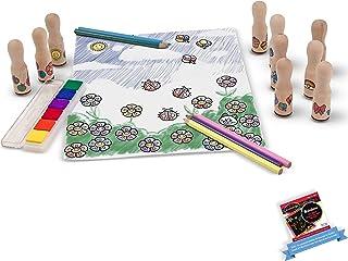 Melissa & Doug Deluxe Happy Handle: Wooden Stamp Set & 1 Scratch Art Mini-Pad Bundle (02306)