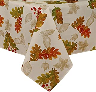 """Elrene Home Fashions Swaying Leaves Allover Fabric Tablecloth for Thanksgiving/Fall/Harvest, 52"""" x 52"""", Ivory"""
