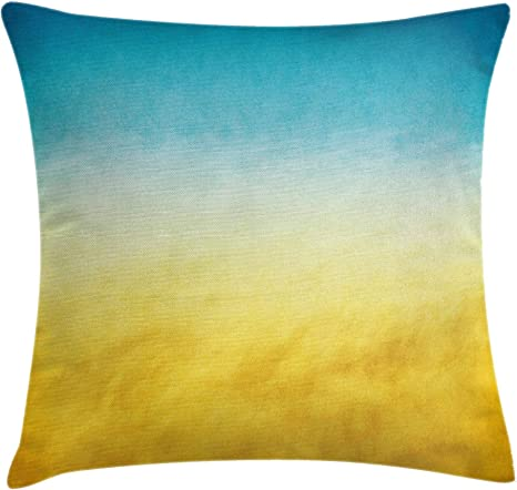 Ambesonne Yellow And Blue Throw Pillow Cushion Cover Surf Waves Ocean Beach Exotic Dreamy Gradient Toned Blurry Landscape Decorative Square Accent Pillow Case 18 X 18 Blue Yellow Home Kitchen