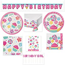 Little Baker Girls Birthday Party Candy Bouquet Bundle Includes: Happy Birthday Banner, Candle, Table Cover, Gift Bags, Dessert Plates, Lunch Plates, Lunch Napkins and Beverage Napkins