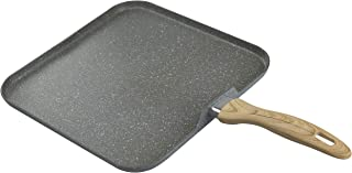 """Country Kitchen 11"""" Nonstick Aluminum Griddle with Soft Touch Silicone Handle – Marble Gray"""