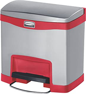 Rubbermaid Commercial Slim Jim Stainless Steel Front Step-On Wastebasket, 4-gallon, Red (1901983)