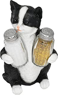 Home-X Decorative Black and White Kitty Cat Salt and Pepper Holder Set Figurine | Decorative Pet Statues and Sculptures As Kitten Kitchen Table Decoration Gifts for Cat Owners - by Home-X