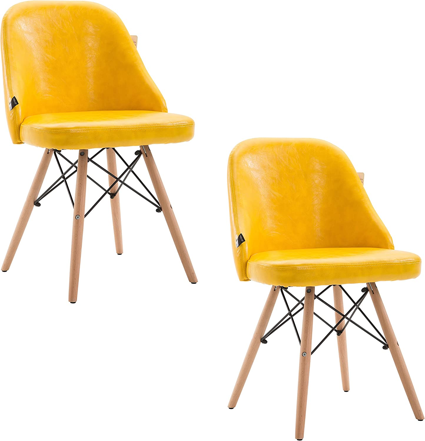 CTF Yellow Padded PU Leather Dining Chairs Retro Modern Dining Chair Pair with Solid Legs, 2 Units