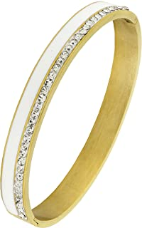 ZIVOM® White Surgical Stainless Steel Gold Openable CZ American Diamond Bangle Cuff Kada Bracelet Stylish Men