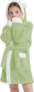 CASODA Christmas Kids Robe Girls Hooded Plush Sherpa Bathrobes - Gifts for Girls