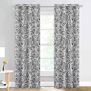 NICETOWN Textured Unique Paisley Curtains - Eyelet Top 95 inches Extra Long Room Darkening Damask Floral Window Treatment Energy Saving Drapes for French Door/Porch (52 inches W, 2 Pieces, Black)