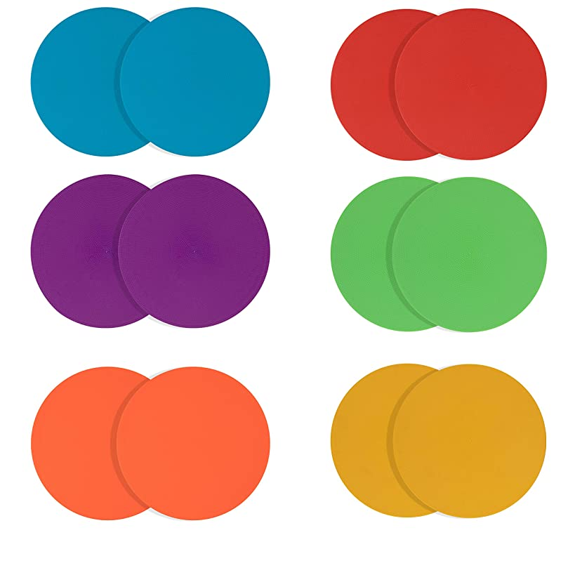 Juvale 10-Pack Floor Spot Markers for Kids, 9 Inches Sitting Dots for Training Classes, Gym, PE School Rooms, Multi-Color