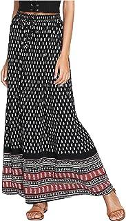 Milumia Women's Boho Vintage Floral Print Tie Waist A Line Maxi Skirts