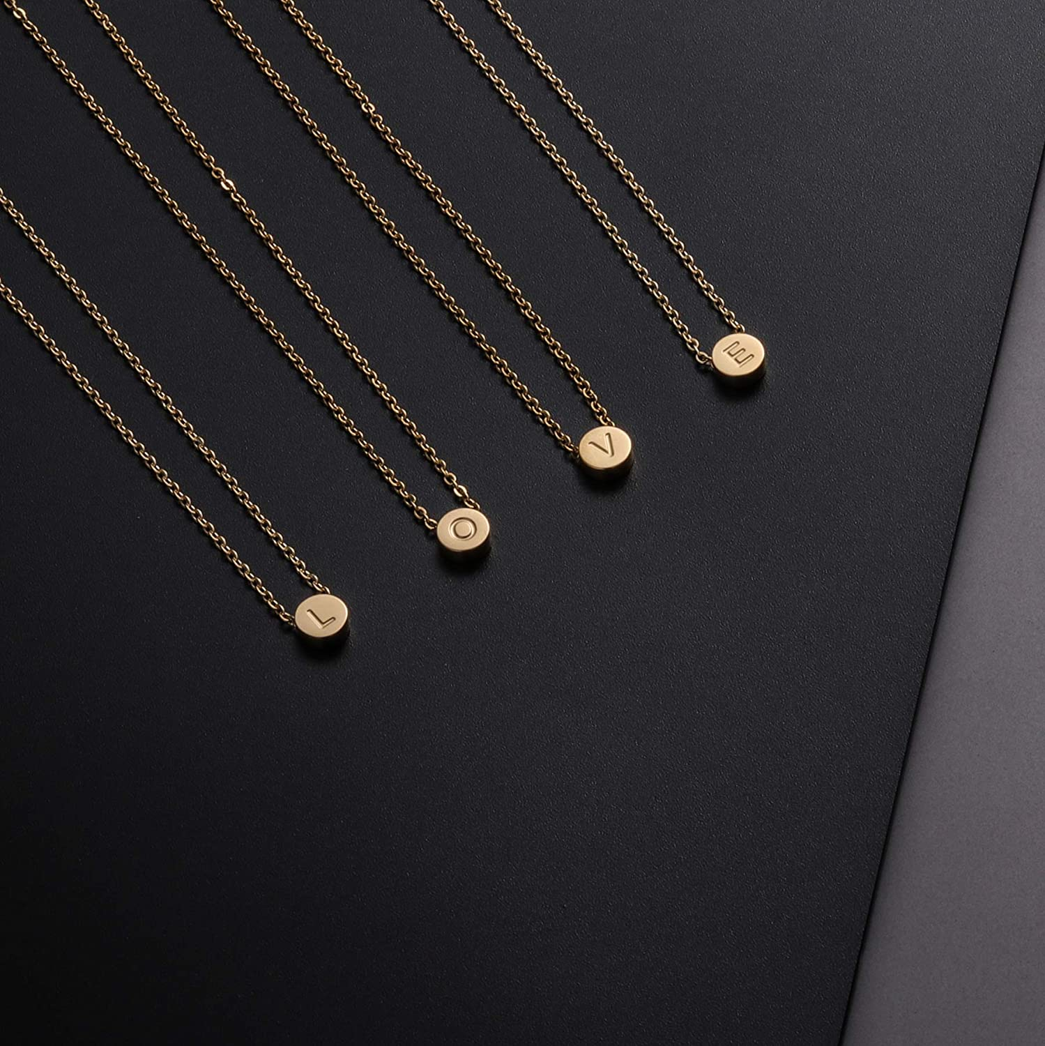 QXTX Initial Necklace for Women Girls,18K Gold Plated Round DotPendant Letter Alphabet Necklace Dainty Tiny Letter Initial Necklace for Women Kids