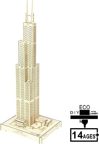 SXA 3D Holzpuzzle, Bunte Lichter + Akku, DIY aus Holz Modell Dekoration Geschenk für Jugendliche, Erwachsene