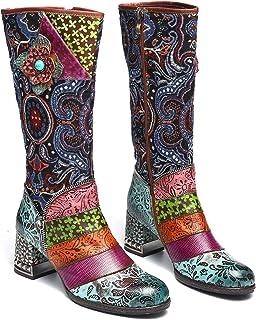 4850e3aab02fa2 Gracosy Bottes Hautes Hiver Cuir Femmes, Chaussures de Ville Hiver Fourrure  à Talons Hauts Confortable