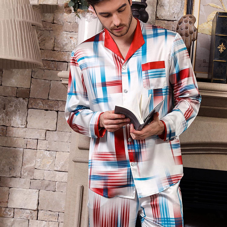 ML S HJDY Men Pajamas Set Summer Long Sleeve Autumn Homewear Silk Men Sleepwear Suit Casual,White,XXL