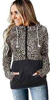 Women's Casual Long Sleeve Leopard Hoodies Sweatshirt Zip Color Block Pullover Tops with Pockets
