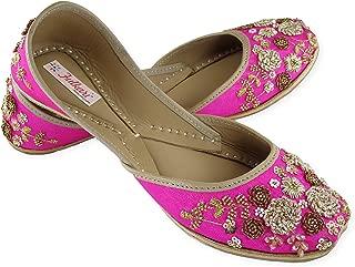 Fulkari Prime Garden Women's Soft Leather Bite and Pinch Free Punjabi Flat Ladies Jutti Ethnic Mojari Shoe