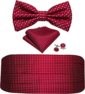 Barry.Wang Men Silk Paisley Cummerbund and Pre-tied Bowtie Handkerchief Cufflink Set for Tuxedo