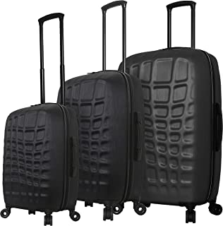 Italy Abstract Croco Hard Side Spinner Luggage 3 Piece Set, Black