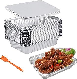 Barquettes Aluminium Barbecue Plateaux avec Couvercle 30 Pièces 1000ml Barquettes Jetables Parfait pour la Cuisson Grillag...