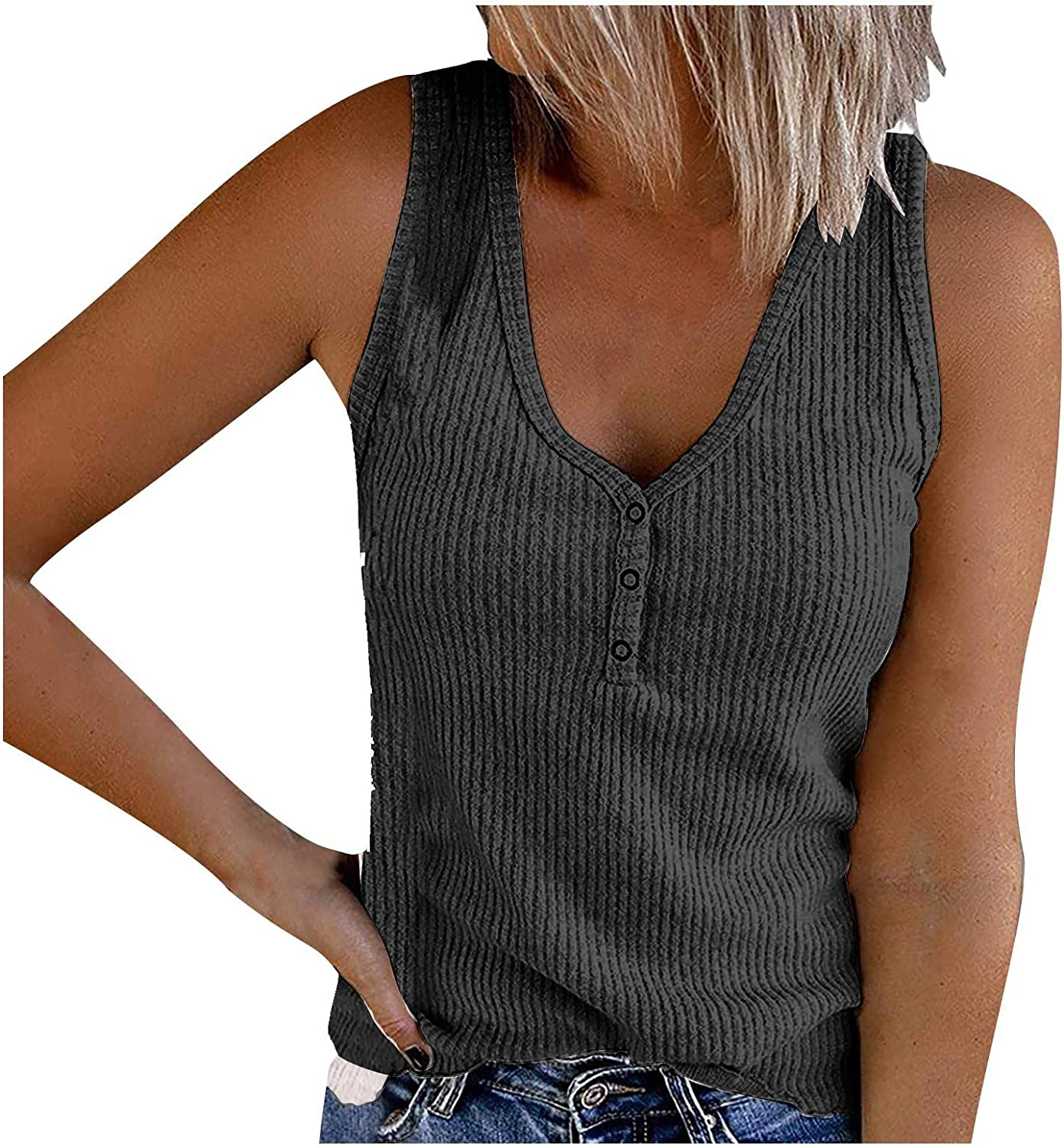 Wocachi Tank Tops for Women, Waffle Henley Button Up Sleeveless Tunic Shirts Loose Casual V Neck Cami Knit Tees
