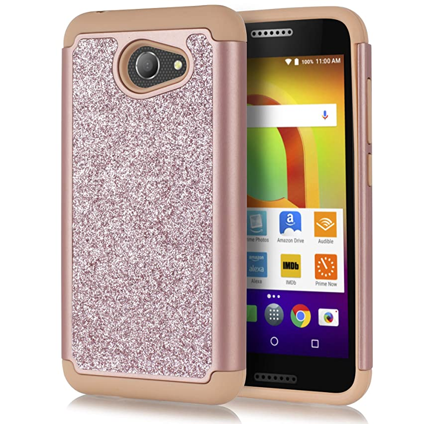 for Alcatel A30/ Alcatel Kora Case with HD Screen Protector for Girls Women, Luxury Cute Premium Glitter Bling Dual Layer Heavy Duty Phone Cover Case (Rose Gold)