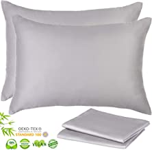 Luxurious 156gsm Bamboo Lyocell Pillowcases - Set of 2 Pillow Case with Hidden Zipper, Grey, Standard 20x26 inches, Hypoallergenic Cooling Sustainable Silky Ultra Soft Moisture Wicking Bedding Gift