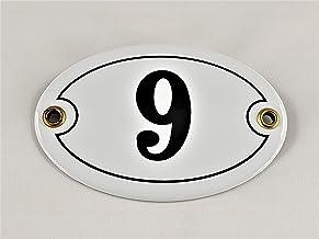 Emaille huisnummer bord nr. 9, ovaal, wit-zwart Nr. 9 / oval/Weiß-Schwarz + Schrauben und Dübel