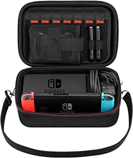 MoKo Funda para Nintendo Switch,Bolsa de Viaje EVA Portátil de Gran Capacidad, Compartimentos de Almacenamiento Protector para Consola con Nintendo Switch, Gamepad, Cargador y Cable – Negro
