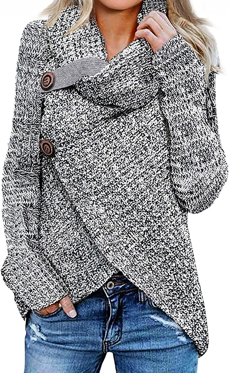 Sweaters for Women Oversized Cowl Neck Sweaters Casual Long Sleeve Asymmetric Wrap Pullover Knitted Sweater Jumper Tops