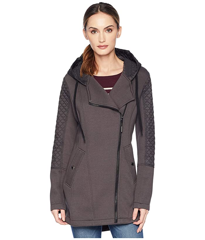 MICHAEL Michael Kors Zip Front/Zip Back Hooded Knit Coat A320673GZ (Gunmetal) Women