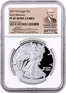 2017-W Proof $1 American Silver Eagle NGC PF70UC ER Signed Mercanti Label