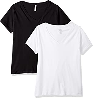 Clementine Apparel 2 Pack Women's Plus Size Curvy Short Sleeve T Shirt Easy Tag V Neck Soft Cotton Undershirts (3807)