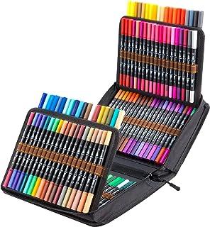 120 kolorowych flamastrów akwarelowych markerów, Ohuhu pisaki do farb akwarelowych z podwójną końcówką akwarelową cienką k...