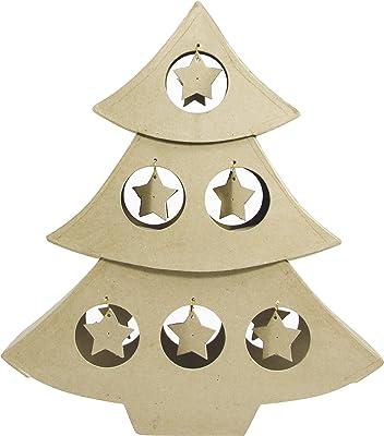 in Legno Artemio Albero di Natale Alto 20/cm Colore: Beige con Base
