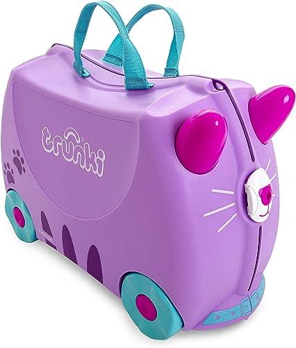 Trunki Valise Enfant à Roulette à Chevaucher et Bagage Cabine - Animaux: Cassie le Chat (Violet)