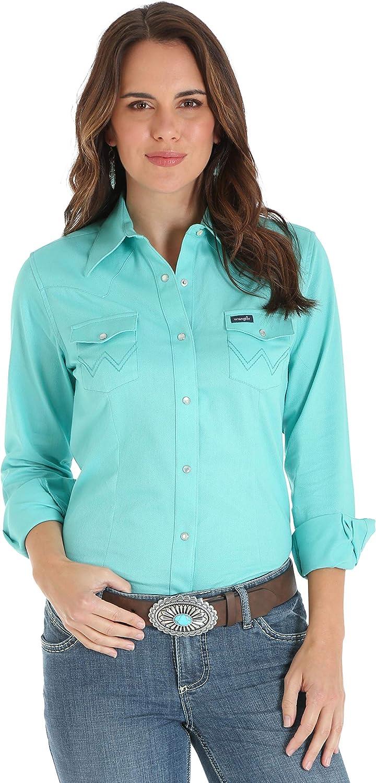 Wrangler Womens Long Sleeve Western Snap Work Shirt Blouse