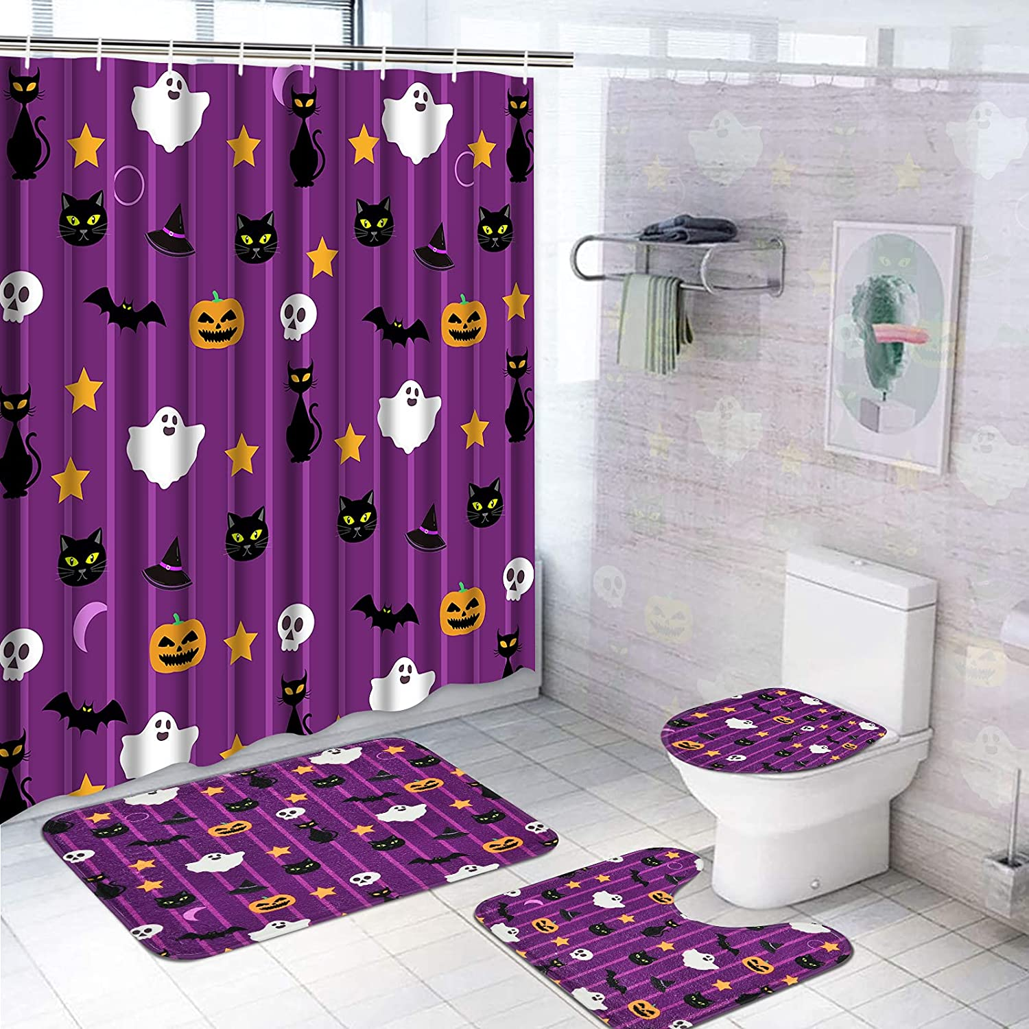 Pknoclan 4 Pcs Halloween Over item handling Shower Non-Slip Curtain with Rug SEAL limited product Sets