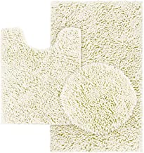 HOMEIDEAS 3 Pieces Bathroom Rugs Set Ivory, Includes U-Shaped Contour Toilet Mat, Bath Mat and Shaggy Toilet Lid Cover, Ma...