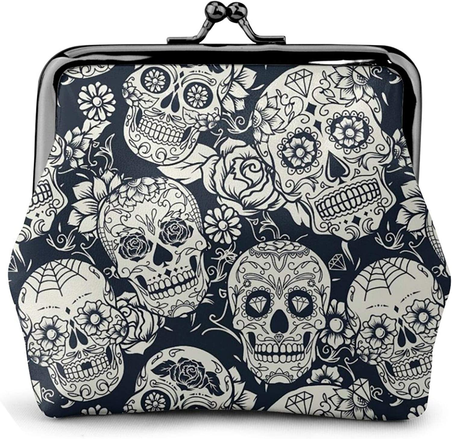 Day of The Dead Sugar Skull with Floral Buckle Coin Purses Women's Kiss-lock Closure Mini Vintage Pouch Leather Hasp Makeup Wallets Card Holder Cute for Men Women Girls Bags