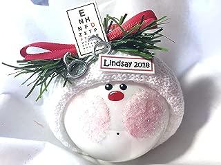 Eye Doctor Gift Christmas Glass Ornament Eye Chart Glasses Hand Painted Handmade Personalized ca61