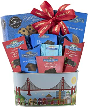 Ghirardelli Milk & Dark Chocolate Gift Basket All Ghirardelli, All Delicous, All the Time! Reusable Metal Basket After All the Chocolates Are Gone by Wine Country Gift Baskets