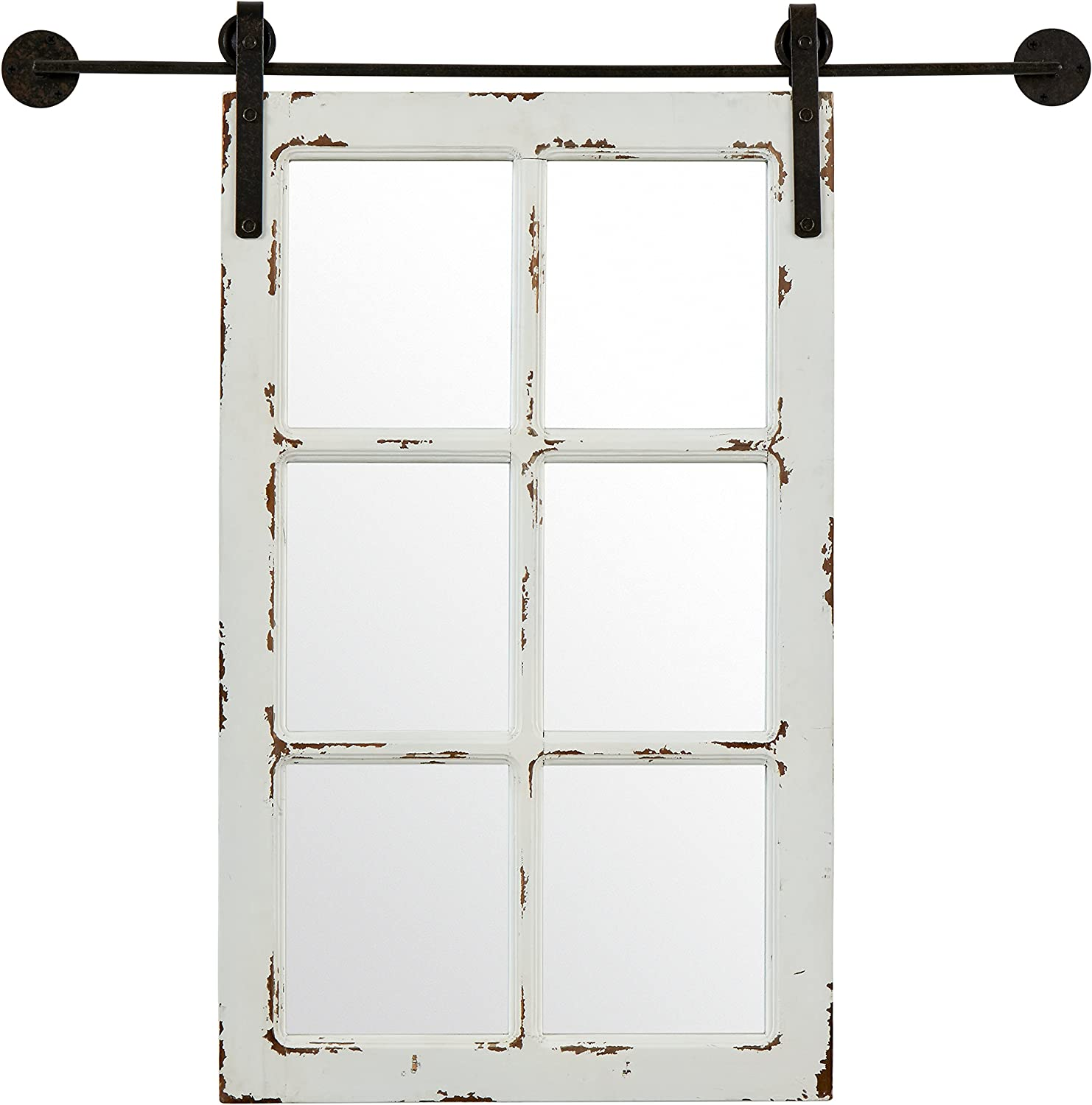 Stone & Beam Vintage-Look Sliding Window Mirror, 32.75  H, White