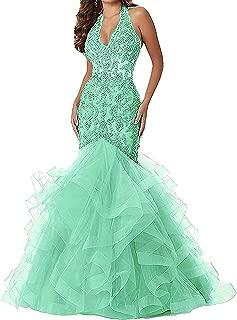 Women's V Neck Applique Beaded Mermaid Prom Dress Halter Formal Gown005