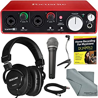 Focusrite Scarlett 2i2 (2nd Gen) USB Audio Interface and Bundle with Home Recording for Musicians Guide + Handheld Mic + FiberTique cloth and More