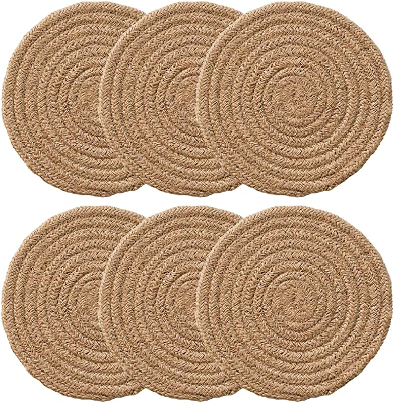 CHERRY 1 Set Of 10 Brown Round Woven Braided Thicken Cotton Placemat Pot Mat For Dining Table Stain Resistant Heat Insulation Durable Non Slip Coaster Cup Table Dish Mat Diameter 7 Inch