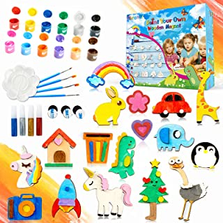 Paint Your Own Wooden Magnet,40 Pcs DIY Arts and Crafts for Kids Ages 4-8,Painting Craft Kit and Art Set for Kids, Christm...
