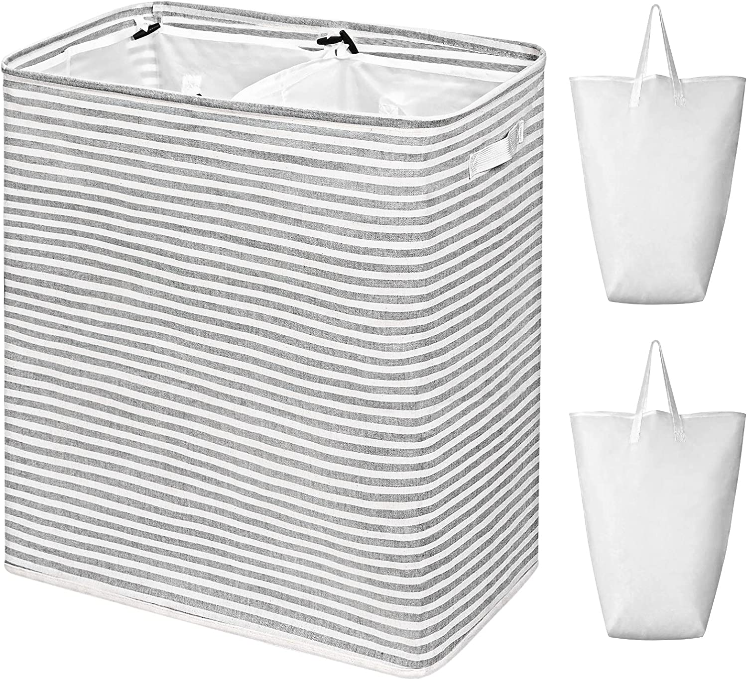 WOWLIVE 115L Freestanding Laundry Hamper Divided 115L/Double, Striped Grey