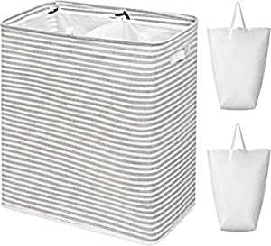 WOWLIVE 115L Freestanding Laundry Hamper Divided Large Laundry Basket 2 Removeable Liner Bags Handles Collapsible Dirty Clothes Storage Basket XXL Waterproof Durable Clothes Hamper (Striped Gray)